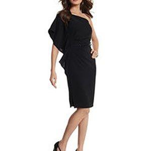 WHBM One Shoulder Ruffle Crepe Sheath Dress 8